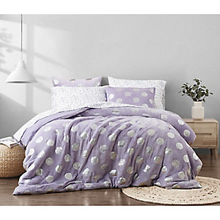 Material Girl Metallic Dot Purple Twin 5 Piece Bed in a Bag, Purple, rollover