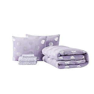 Material Girl Metallic Dot Purple Twin 5 Piece Bed in a Bag, Purple, large