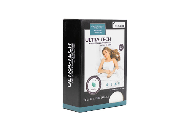 Healthy Sleep Ultra-Tech Tencel Advanced Queen Pillow Protector, White, large