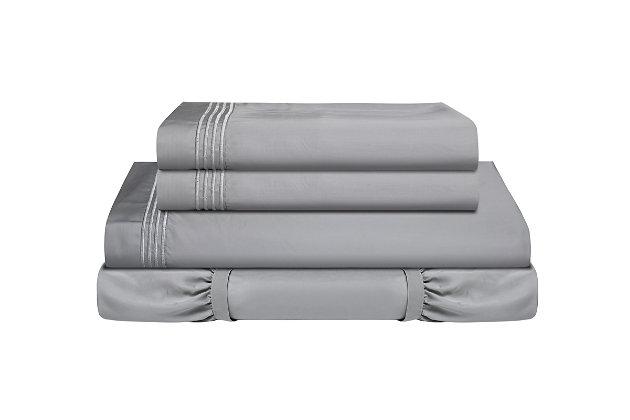 Healthy Sleep Ultra-Tech Tencel Full Sheet Set, Gray, large
