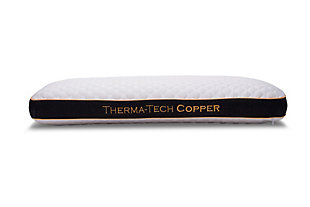 Healthy Sleep Therma-Tech Copper Low Profile Queen Pillow, White, large