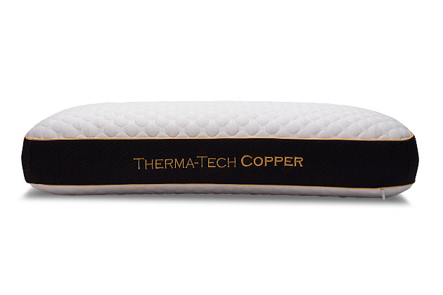 Healthy Sleep Therma-Tech Copper High Profile Queen Pillow, White, large
