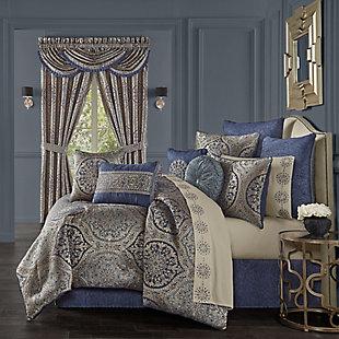 J. Queen New York Botticelli Queen 4 Piece Comforter Set, Navy, rollover