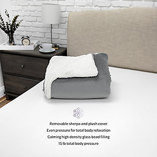SensorPEDIC® Serenity 15lb. Weighted Blanket with Removable Cover with Sherpa and Plush Fabrics, , rollover