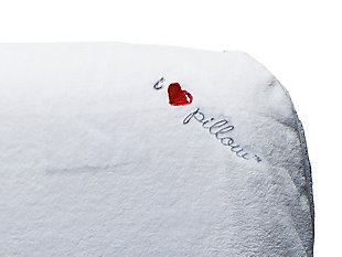 I Love Pillow Traditional Low Profile Queen Pillow, White, rollover