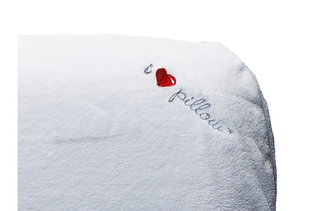 I Love Pillow Traditional Low Profile Queen Pillow, White, large