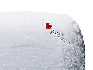 I Love Pillow Traditional Medium Profile Queen Pillow, White, rollover