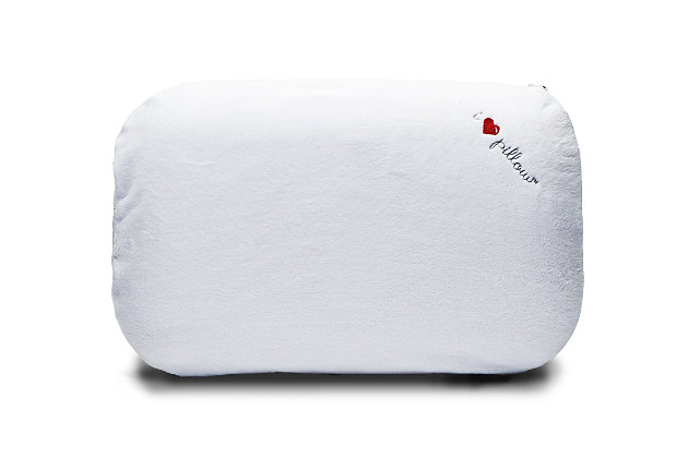 I Love Pillow Traditional Medium Profile Queen Pillow, White, large