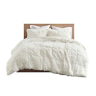 Intelligent Design Malea Twin/Twin XL Shaggy Faux Fur Comforter Set, Ivory, large