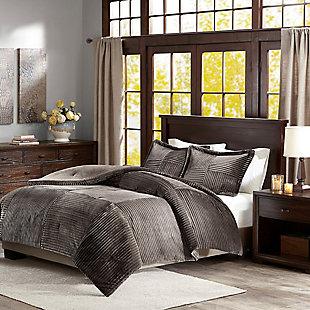 Madison Park Full/Queen Corduroy Plush Comforter Mini Set, Gray, rollover