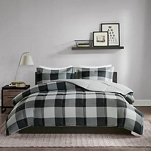 Madison Park Essentials Barrett Twin/Twin XL 3M Scotchgard Down Alternative Comforter Mini Set, Gray/Black, rollover
