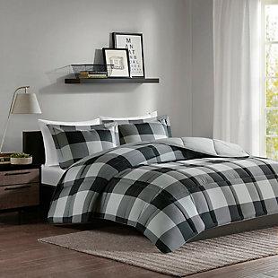 Madison Park Essentials Barrett Twin/Twin XL 3M Scotchgard Down Alternative Comforter Mini Set, Gray/Black, large