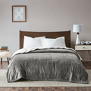 True North by Sleep Philosophy Twin Reversible Plush To Berber Heated Blanket with Automatic Timer, Gray, rollover