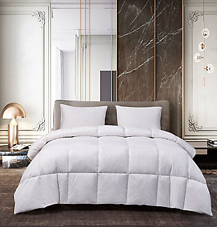 Kathy Ireland Goose Feather and Down Twin Comforter, White, rollover