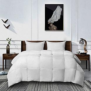Kathy Ireland Ultra-Soft Nano-Touch Light Warmth Duraloft Down Twin Alternative Comforter, White, rollover