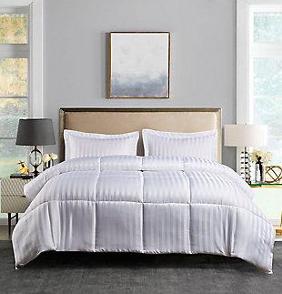 Kathy Ireland Microfiber Damask Reversible Down Alternative Twin Comforter Set, White, rollover