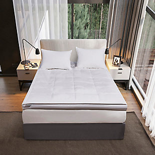 Kathy Ireland 3 inch Down Fiber Top Twin Featherbed, White, rollover