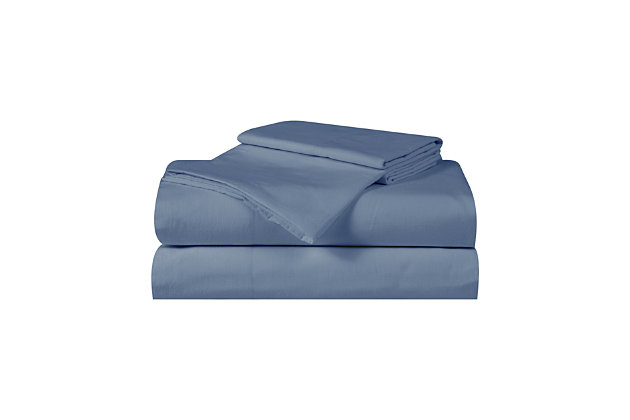 Truly Calm Silver Cool Queen 4 Piece Sheet Set, Blue, large