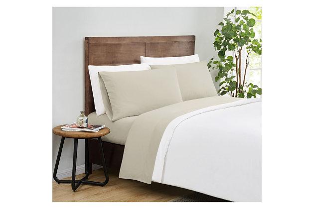 Truly Calm Silver Cool Twin XL 3 Piece Sheet Set, Khaki, large
