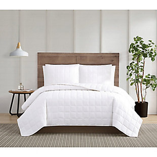 Truly Calm Silver Cool Twin/Twin XL 2 Piece Quilt Set, White, rollover