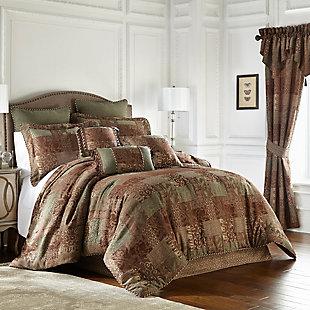 Galleria Brown 4 Piece Queen Comforter Set, Brown, rollover