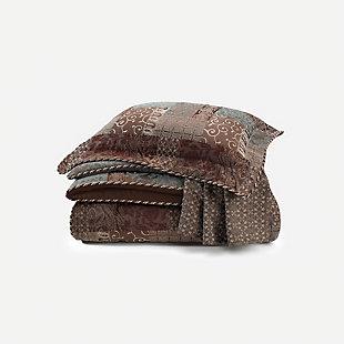 Galleria Brown 4 Piece Queen Comforter Set, Brown, large