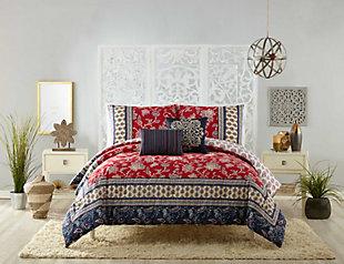 Indigo Bazaar Marbella 5 Piece Queen Comforter Set, Red, large