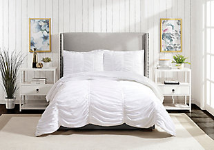 Laurel and Mayfair Emily Texture Twin Comforter Set, White, rollover