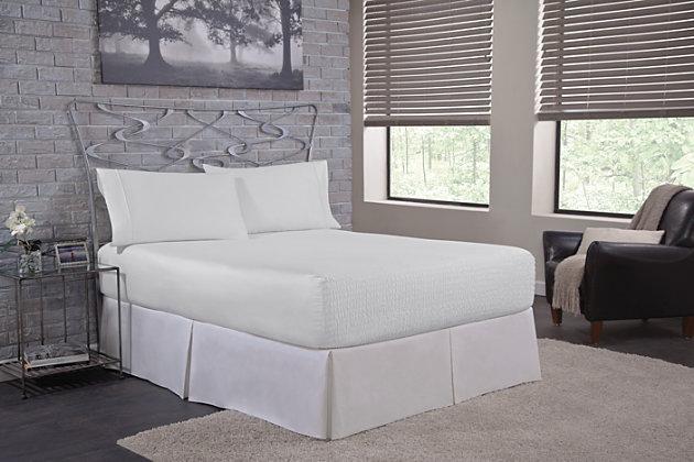 Bedtite 100% Cotton Twin Sheet Set, White, large