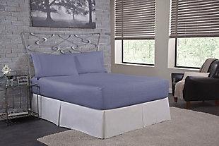Bedtite 100% Cotton Queen Sheet Set, Lake Blue, large