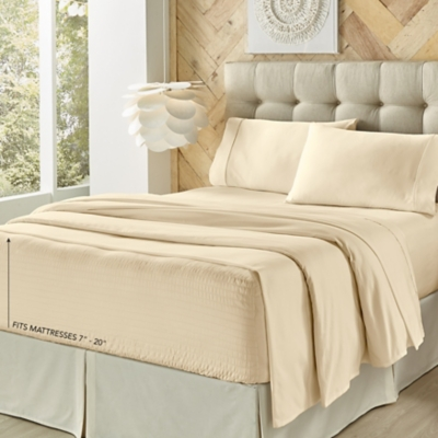 J. Queen New York Royal Fit King 4 Piece Sheet Set, Ivory, large