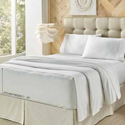 J. Queen New York Royal Fit Twin 3 Piece Sheet Set, White, large