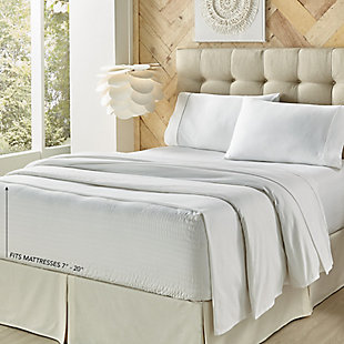 J. Queen New York Royal Fit Full 4 Piece Sheet Set, White, rollover