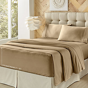 Five Queens Court Royal Fit Full 4 Piece Sheet Set, Tan, large
