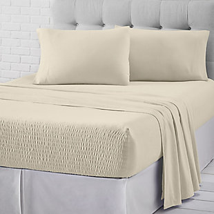 J. Queen New York Royal Fit Flannel Twin 3 Piece Sheet Set, Ivory, large