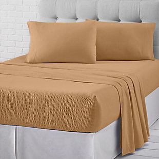 J. Queen New York Royal Fit Flannel King 4 Piece Sheet Set, Tan, large