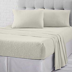 J. Queen New York Royal Fit Jersey Knit Twin 3 Piece Sheet Set, Ivory, rollover