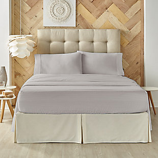 J. Queen New York Royal Fit 100% Egyptian Cotton California King 4 Piece Sheet Set, Silver, large