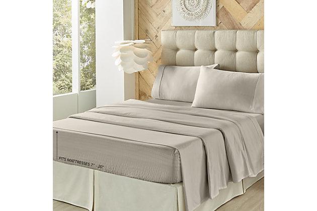 J. Queen New York Royal Fit Adjustable Split Sheet California King Adjustable Bed Sheet Set, Gray, large