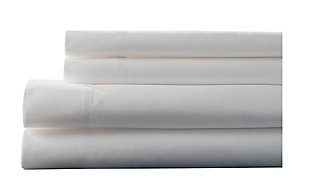 Elite Home Products Twin 400 Thread Count Hemstitch Solid Sheet Set, White, large