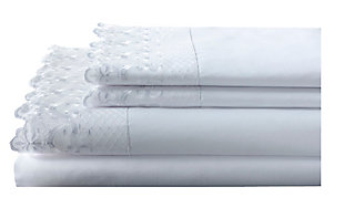 Elite Home Products Twin 100% Polyester Hotel Lace Sheet Set, White, rollover