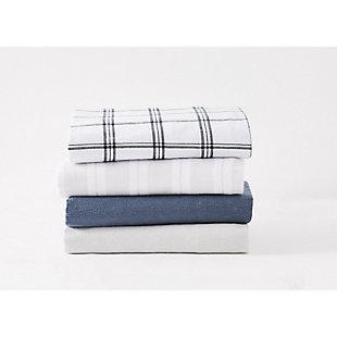 Truly Soft Bristol Plaid Twin Flannel Sheet Set, White/Black, large