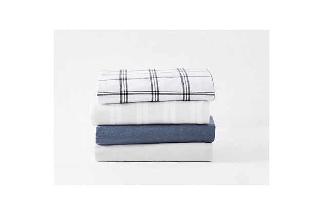 Truly Soft Bryce Stripe Queen Flannel Sheet Set, White/Gray, large
