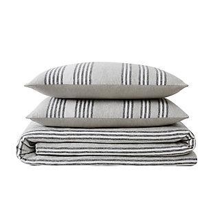 Truly Soft Kiel Stripe Twin XL 2 Piece Flannel Comforter Set, Gray, large