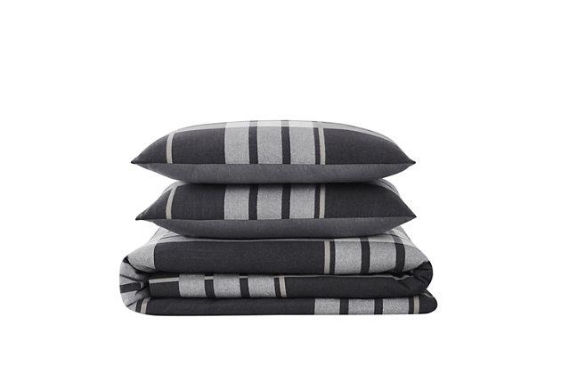 Truly Soft Milo Plaid Twin XL 2 Piece Flannel Comforter Set, Gray, large