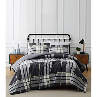 Truly Soft Milo Plaid Twin XL 2 Piece Flannel Duvet Cover Set, Gray, rollover