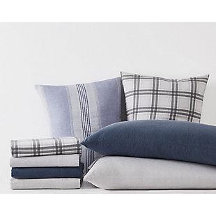 London Fog Herringbone Twin Flannel Sheet Set, White/Gray, large