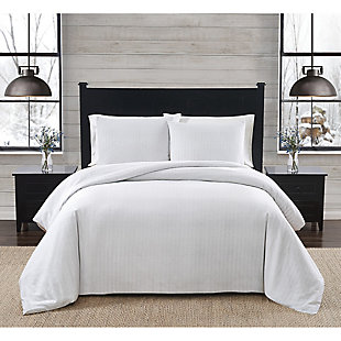 London Fog Herringbone Twin XL 2 Piece Flannel Comforter Set, White/Gray, rollover