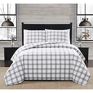 London Fog Plaid Twin XL 2 Piece Flannel Comforter Set, White/Gray, rollover