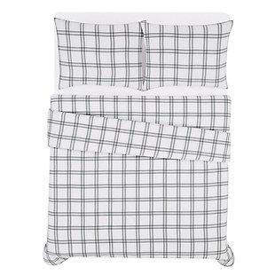 London Fog Plaid Twin XL 2 Piece Flannel Comforter Set, White/Gray, large